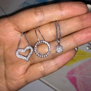 14K Diamond White Gold Necklaces